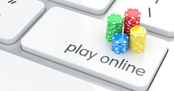 computer keyboard poker chips